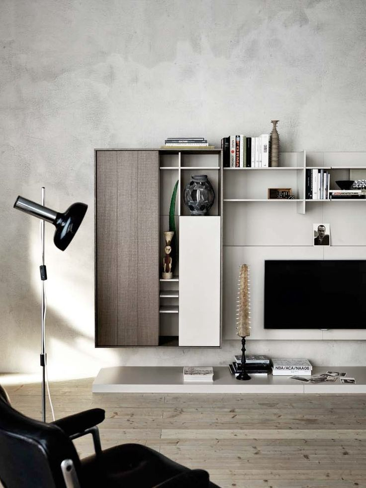 Wall-mounted lacquered storage wall Oak storage wall C_DAY K14 Collection by CESAR ARREDAMENTI | design Gian Vittorio Plazzogna