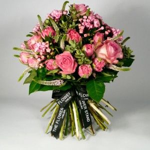 Tulip and Rose Posy - Pink Tulips, Avalanche Sorbet Roses, Pink Veronica and Pink Bouvardia.