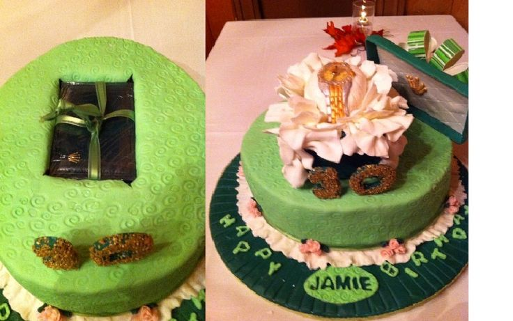 A surprise cake!!  On the left is a wrapped Rolex watch imbedded in the bottom cake.  On top is the gumpaste fondant watch in a green fondant Rolex box.  It actually has a ticking second hand.  Birthday girl never expected the surprise in the bottom layer! Cake was a funny bone cake with chocolate ganache and vanilla fondant.
