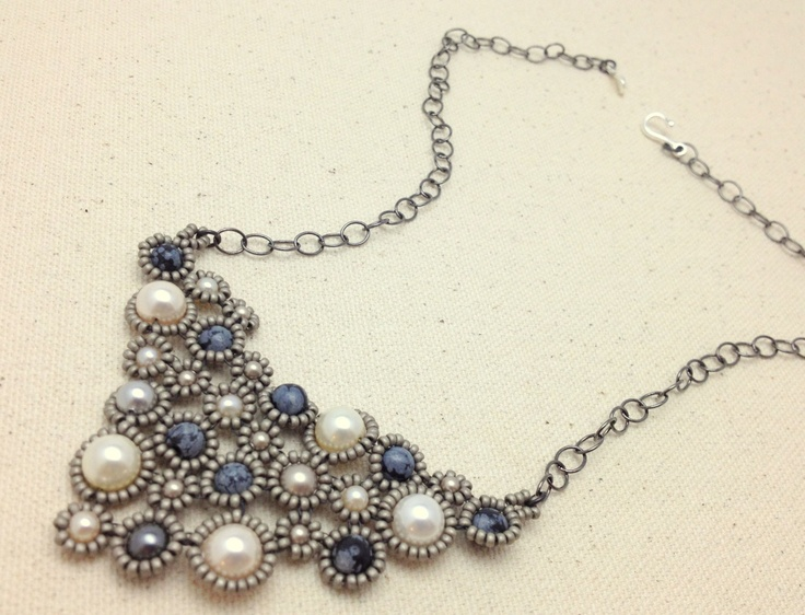 Swarovski Pearl and Snowflake Obsidian Hand Woven Necklace with Gunmetal Chain. $60.00, via Etsy.
