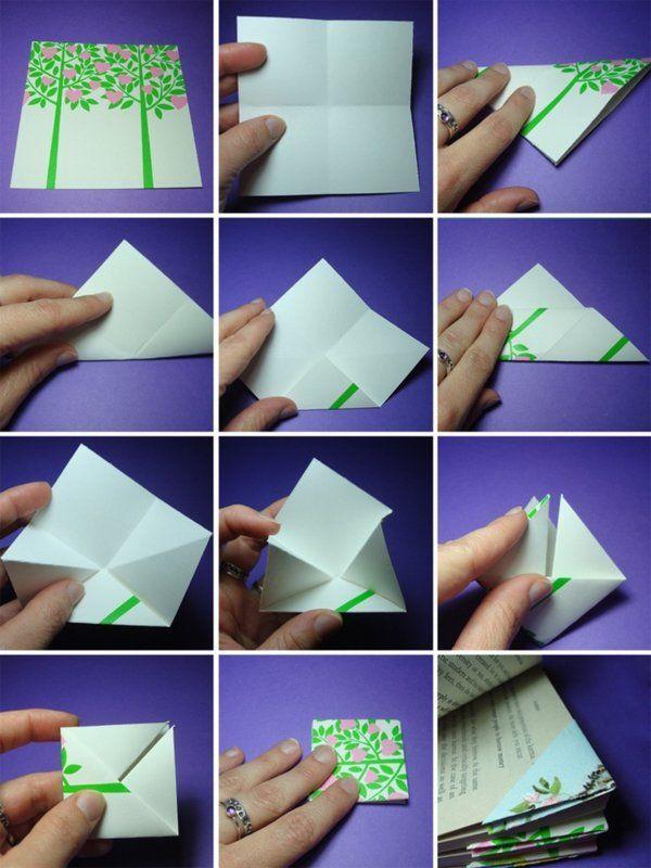 bastelideen mit papier bastelanleitung lesezeichen