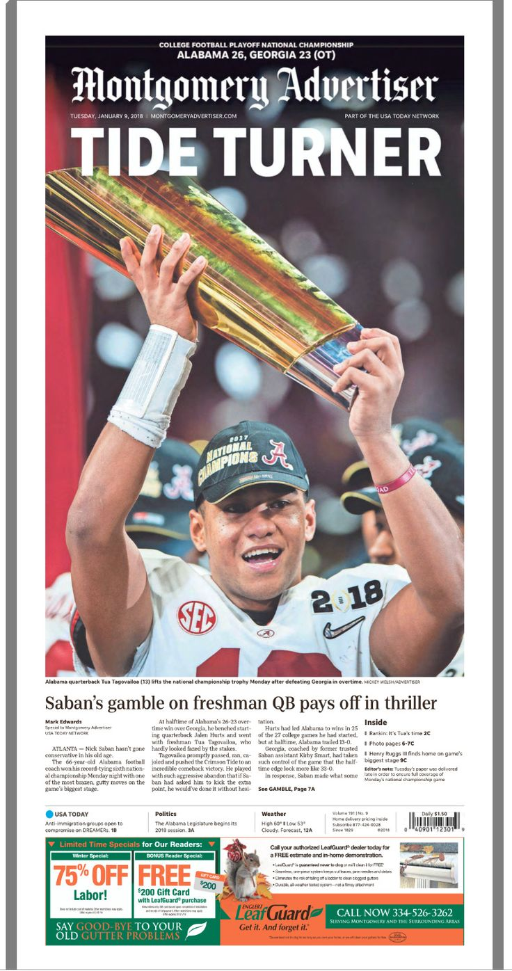 Front page of The Montgomery Advertiser, following Bama's 26-23 OT win in the College Football Playoff National Championship at Mercedes-Benz Stadium in Atlanta, 2018 National Champions! #Alabama #RollTide #Bama #BuiltByBama #RTR #CrimsonTide #RammerJammer #CFBPlayoff #NationalChampionship #CFBNationalChampionship2018