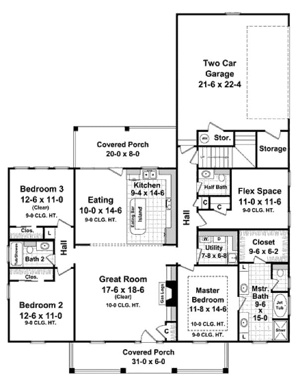 Southern Style House Plan - 3 Beds 2.5 Baths 1888 Sq/Ft Plan #21-238 Floor Plan - Main Floor Plan - Houseplans.com