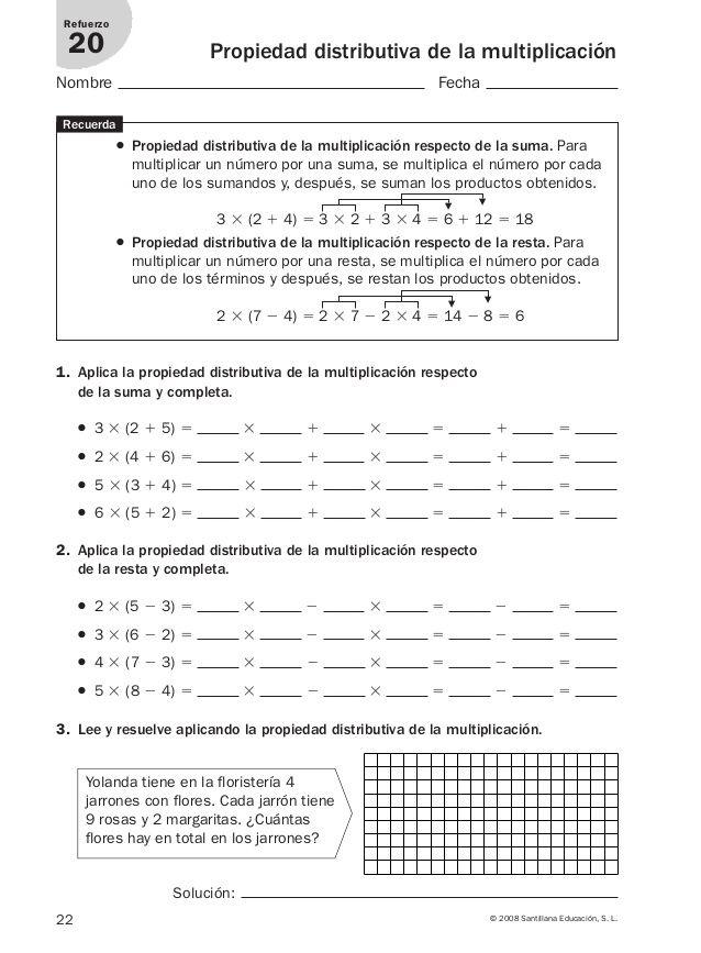 ejercicios propiedad distributiva 6 primaria pdf