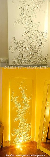 light art - Valerie Boy by cottoncandycastle, via Flickr. Lasercutting and layering fabric in front of lights?