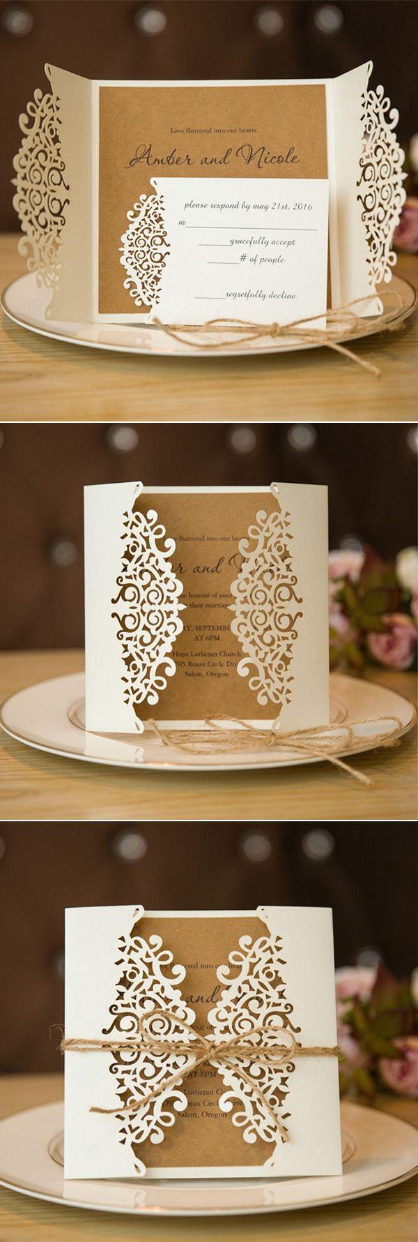 Formal White Laser Cut Wedding Invitation Cards