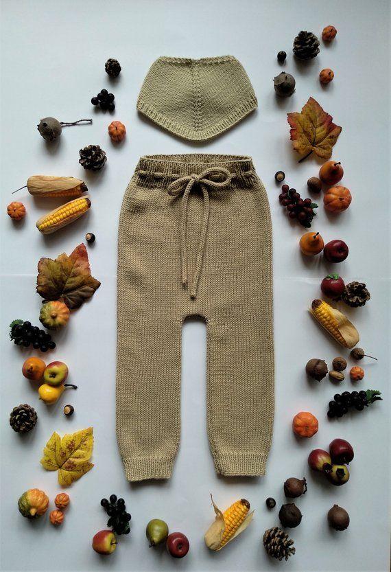 KNITTING PATTERN - Harvest Baby Pants and Bandana PDF