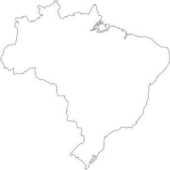 Contorno do mapa do Brasil.Contorno, Brazil, Map