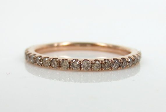 ZinaFineJewelry 0.57ctw Champagne Diamond Pave Eternity 18K Rose Gold Stackable Band Ring - LOVE THIS