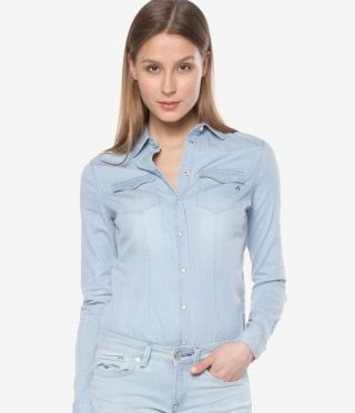 Camasa dama jeans bleu prespalat
