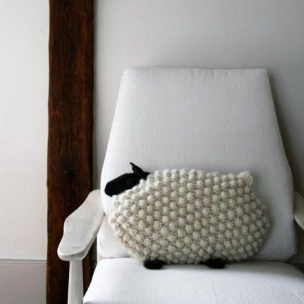 Bobble Sheep Pillow in Super Soft Merino | Purl Soho - Create