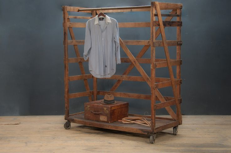 USA, 1920s, Vintage Industrial Columbia Factory Clothiers Rolling Garment Display Rack. Old Growth Wood Construction. Turned Dowel for Garme... factory20.com