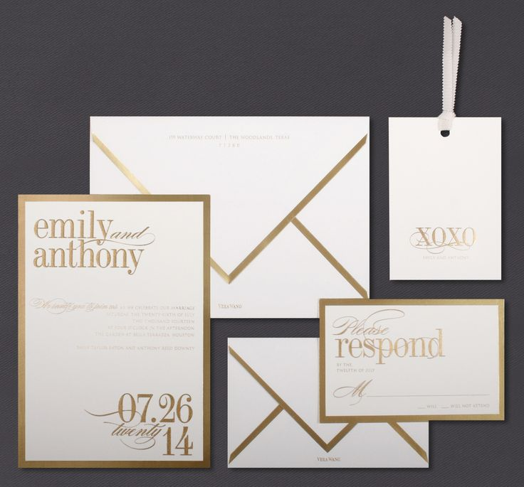 metallic invitations gold gold inkwedding lookspaper goodsvera wangcard - Vera Wang Wedding Invitations
