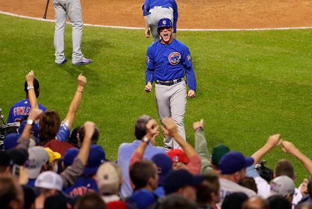 Five key moments from the Cubs World Series-clinching win in Game  Anthony Rizzo celebrates after scoring in the 10th inning of World Series Game 7. (Getty Images)