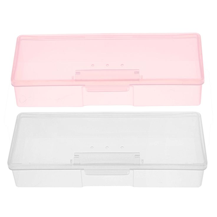 1PC Plastic Nail Supplies Tools Storage Box Rectangle Nail Art Studs Brushes Tools Holder Case Pink/White Transparent GUB#