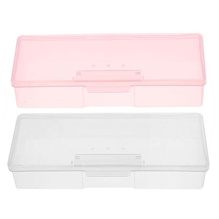 1 PC Kotak Persegi Panjang Penyimpanan Plastik Nail Alat Perlengkapan Nail Art Studs Brushes Alat Pemegang Kasus Pink/Putih Transparan GUB #