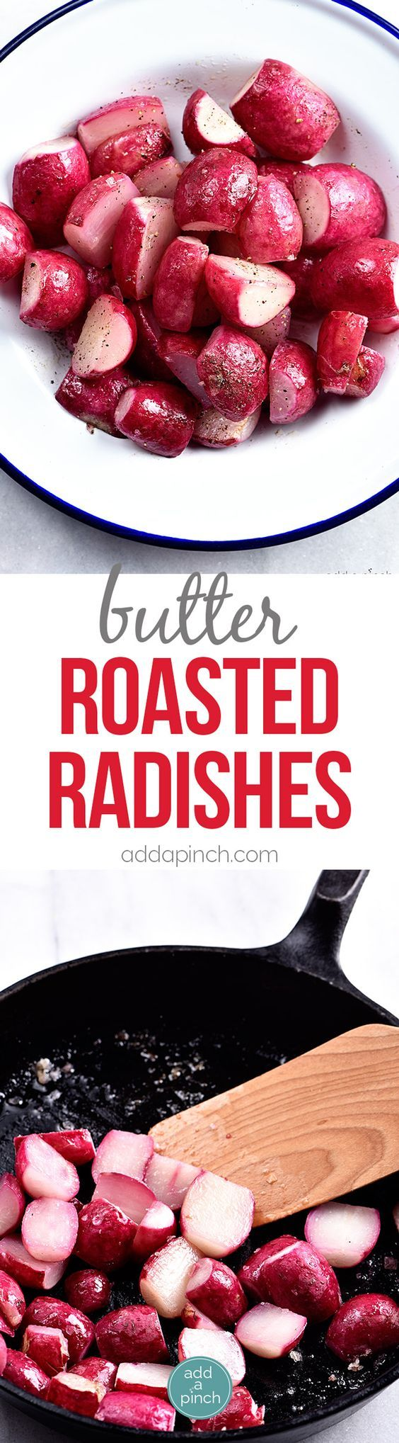 Butter Roasted Radishes Recipe  Roasting radishes makes radishes more mild in flavor yet rich and delicious! Perfect as a side dish topping for salads or a snack!