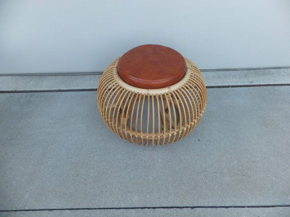 Bamboo Rattan Footstool Footrest Chair Stool Ottoman With Faux Leather Cushioned Seat Vintage Mid Century Modern & 87 best Pouf ottomans images on Pinterest | Ottomans Poufs and ... islam-shia.org
