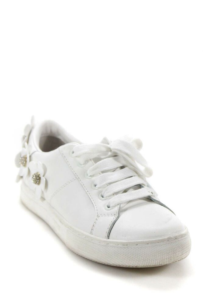 a200ee350d8d eBay  Sponsored Marc Jacobs Childrens Girls Leather Crystal Flower Sneakers  White Size 35