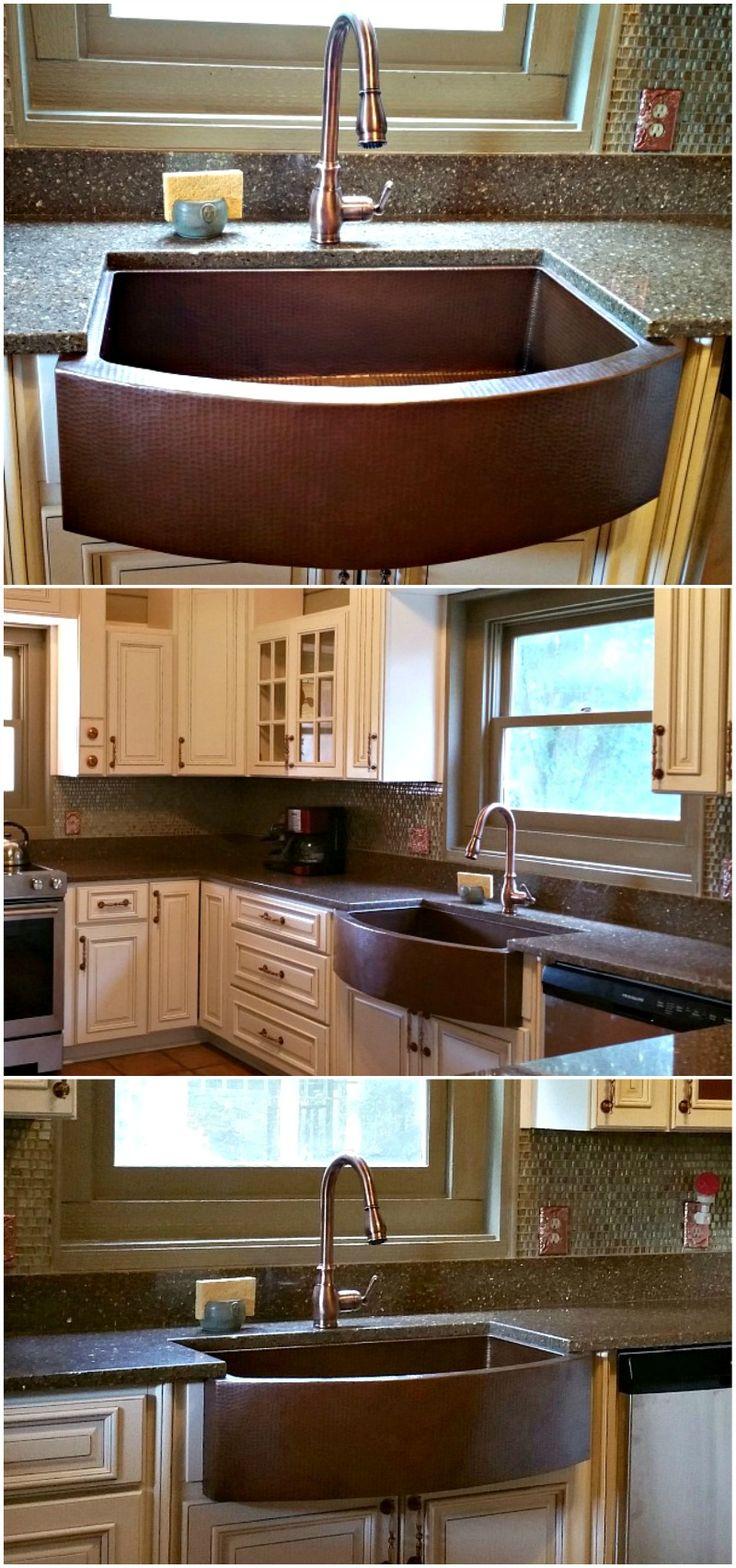 Gorgeous Copper Kitchen Sink Installation | SoLuna Copper Sink | Kitchen  Farmhouse Sink | Copper Farmhouse