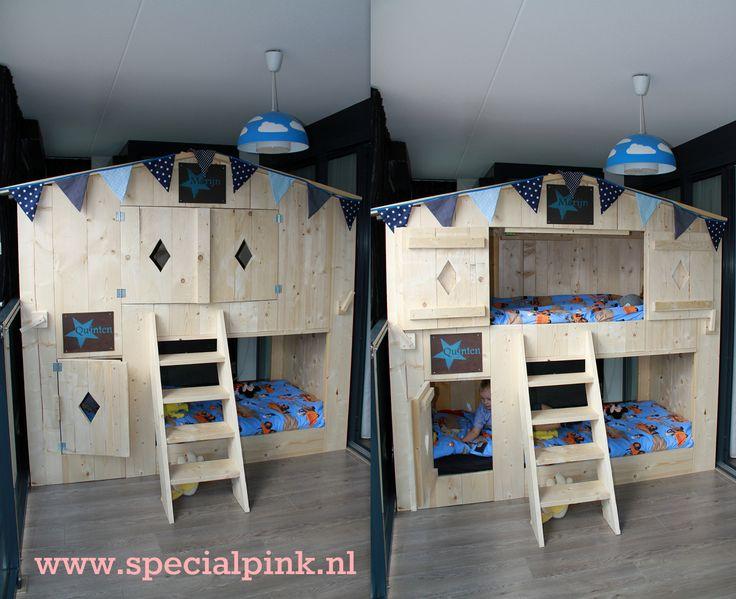 Boomhutbed stapelbed van nieuw hout hopes bdd pinterest tweeling - Stapelbed kleine kamer ...
