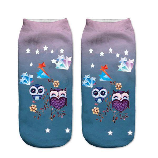 Women Harajuku 3D Owl Animal Print Socks Good Stretch Breathable Low Cut Ankle Socks - Banggood Mobile