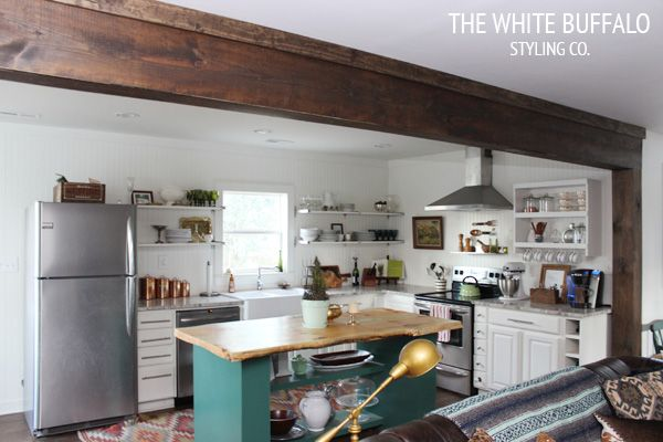 Faux Wood Beams from thewhitebuffalostylingco.com