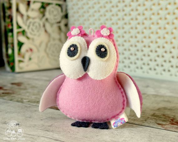 PINK OWL Felt Toy Handmade Toy Baby Mobile Toy Gift by BlueOwlHome