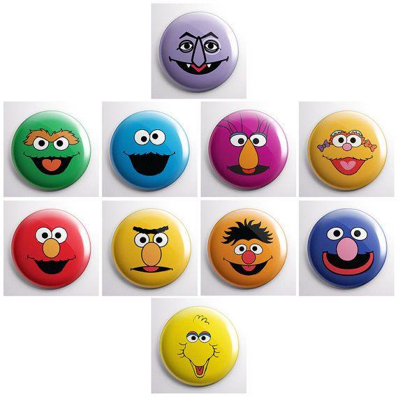 SESAME STREET - a pinback button set - Bert / Ernie / Oscar the Grouch / Elmo / Cookie Monster / Big Bird, etc.