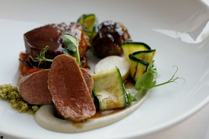 Lamb 3 ways ratatouille provençal, grilled courgette and smoked aubergine puree at La Mouette, Cape Town
