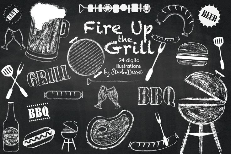 Chalkboard Barbecue Cliparts, BBQ Chalk Illustrations - Scrapbooking Supplies or DIY invitation Elements