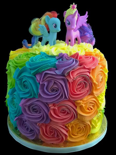 My Little Pony Rainbow Rose Swirl Cake – Scrummy Chocolate Cake with a Creamy Strawberry Buttercream Filling.  My little Ponies were supplied by the customer.  #baikiecakes #rainbowroseswirlcake #mylittleponycake #cake