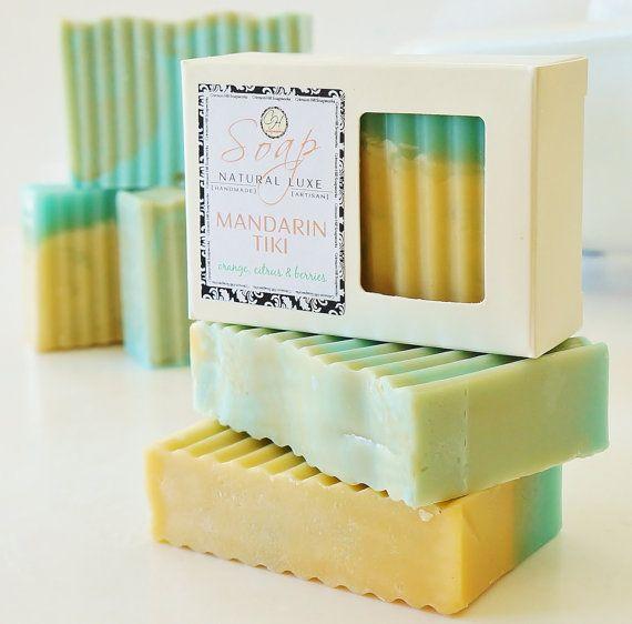 MANDARIN TIKI SOAP - large 5.5 oz, shea butter, mango butter, cocoa butter, vegan, natural, scent, handmade