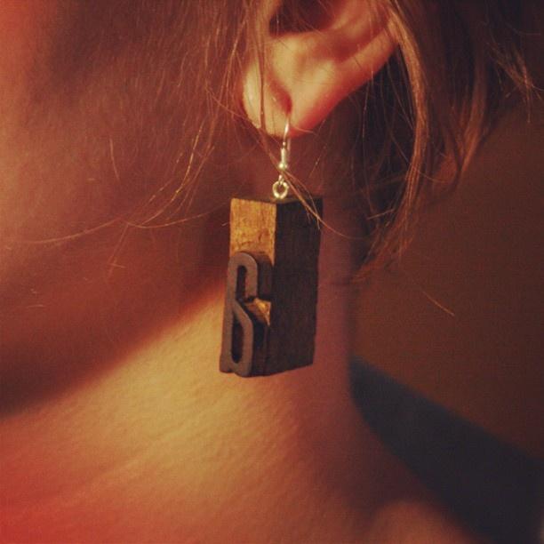 more: www.brzydko.com #letterpress #earrings #typography #jewelry #brzydko #vintage #wood #retro #type #fashion #style #accessories