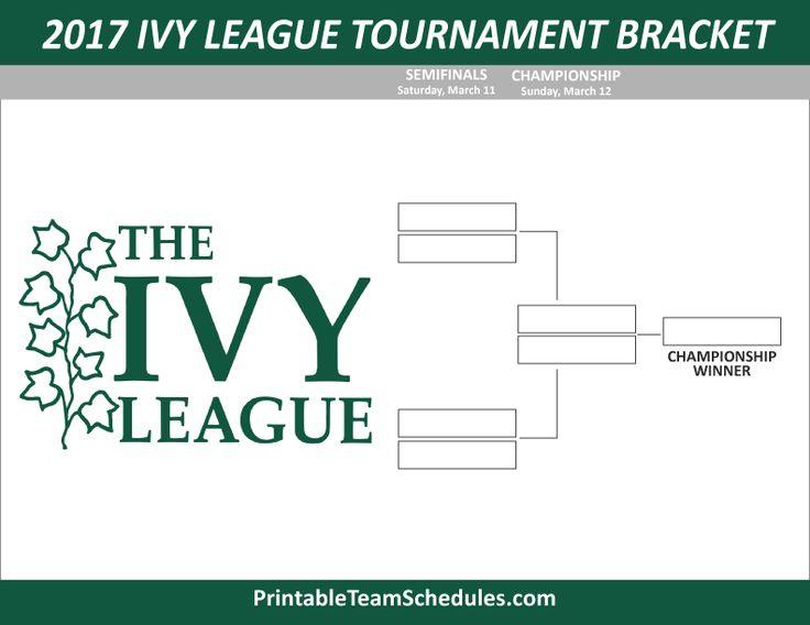 Ivy League Men's Basketball Tournament Bracket 2017. Print Here - http://printableteamschedules.com/NCAA/ivyleaguetournamentbracket.php
