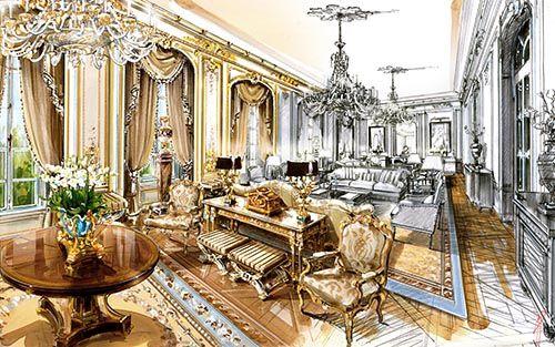 Interior Watercolor Illustration Classic