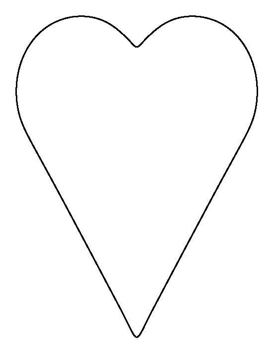 Long heart pattern. Use the printable outline for crafts, creating stencils, scrapbooking, and more. Free PDF template to download and print at http://patternuniverse.com/download/long-heart-pattern/