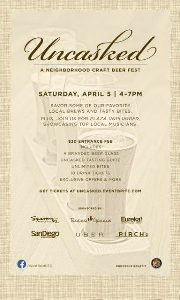FLASH GIVEAWAY: Win two tickets to Uncasked: A Neighborhood Craft Beer Fest at @Westfield UTC this Saturday #sandiego #giveaway #win #beer #event