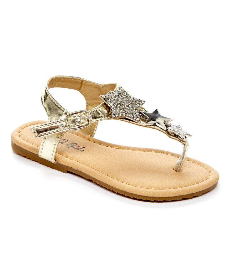 Look at this QQ Girl Gold Sophie Sandal on #zulily today!