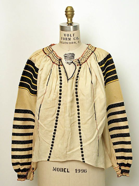 Blouse  Date: 1800–1943 Culture: Romanian Medium: linen