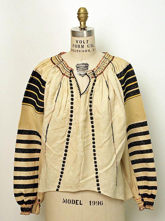 Blouse  Date: 1800–1943 Culture: Romanian Medium: linen