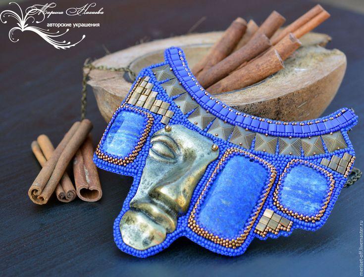 """Купить Колье""""ШАМАН"""". - тёмно-синий, стиль этно, Бронза ручной работы, бронзовая подвеска"""