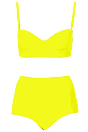 love this neon yellow retro bathing suit. high waisted ...