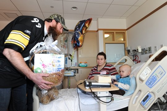 Steelers players visit Children's Hospital to distribute Baskets of Hope! This is great stuff.