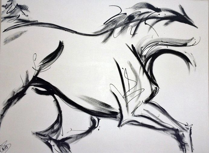 Horse painting modern horse art abstract horse artwork black and white contemporary