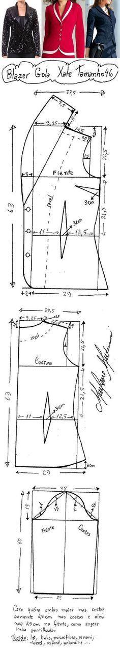 DIY – molde, corte e costura – Marlene Mukai. Blazer com Gola Xale. Um blazer clássico e atemporal, fácil de fazer. Segue esquema de modelagem do 36 ao 56. Metragem: Para 36/38/40, 1,50 metros de tecido. Para 42/44/46, 1,80m de tecido. Para 48/50/52, 2 metros de tecido. Para 54 e 56, 2,20 metros de tecido.