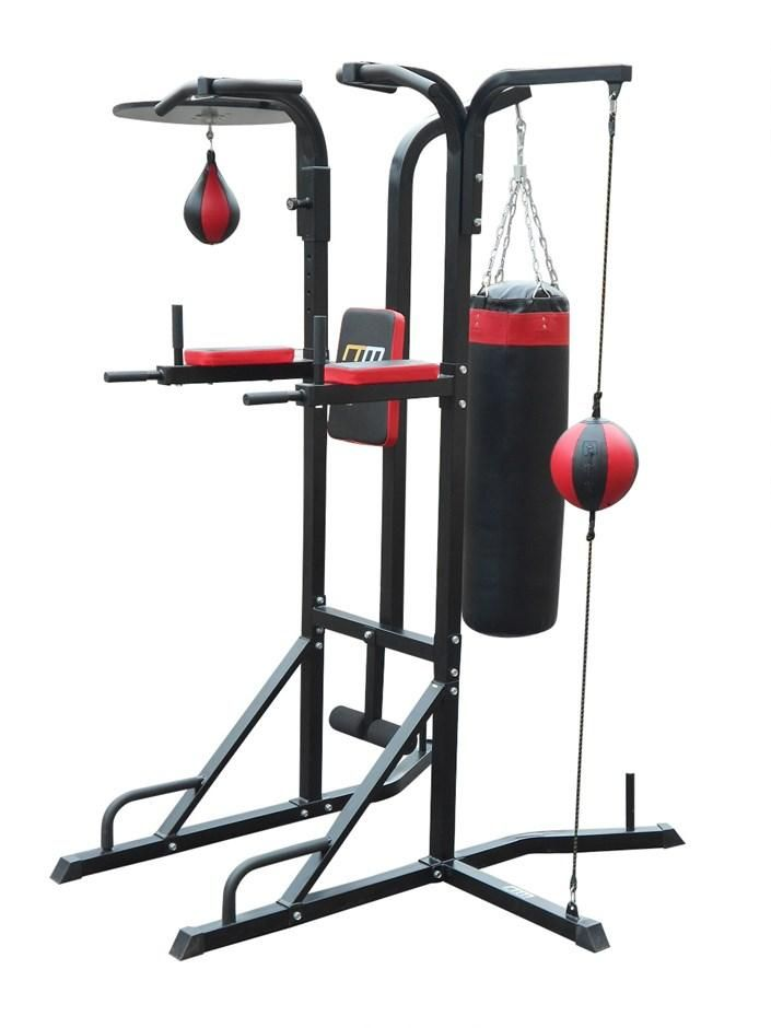 Folding Boxing Bag Stand Chin Pull Up Bar Home Gym Fitness Multi Station