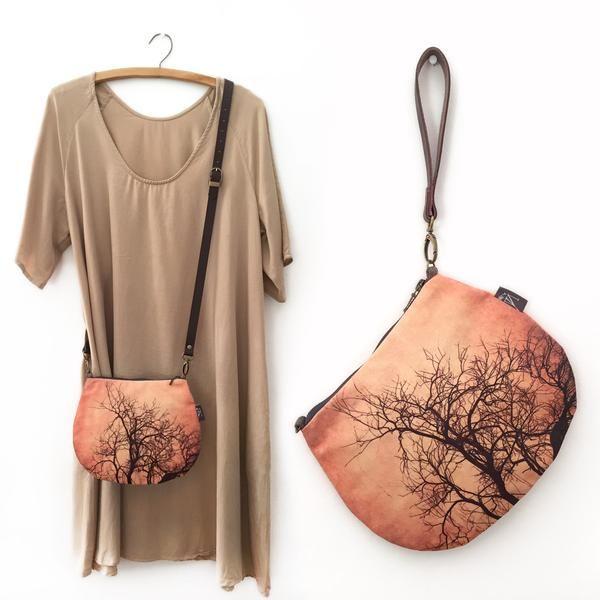 2-in-1 Crossbody / Clutch - Brown Tree