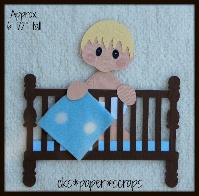 Baby Crib Bed Boy Kid Scrapbook Paper Piecing