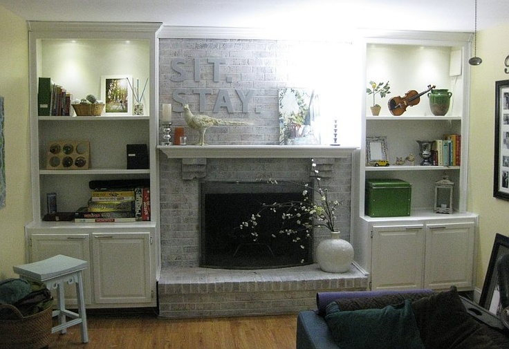 Fireplace whitewashed and oak cabinets painted family room pinterest oak cabinets - Whitewashed oak cabinets ...